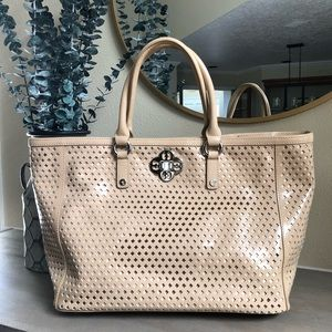 My Flat In London nude patent leather large tote